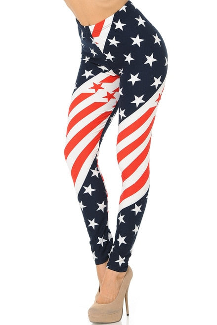 Swirling USA Flag Leggings