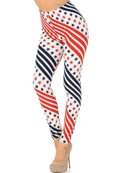Twirling Stars and Stripes USA Flag Leggings for Women