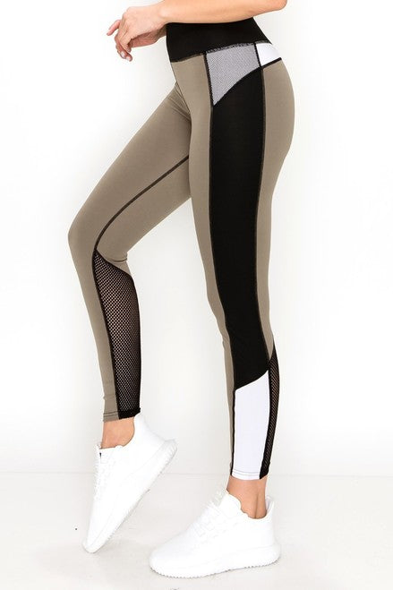 Multi Panel Olive Athletic Leggings