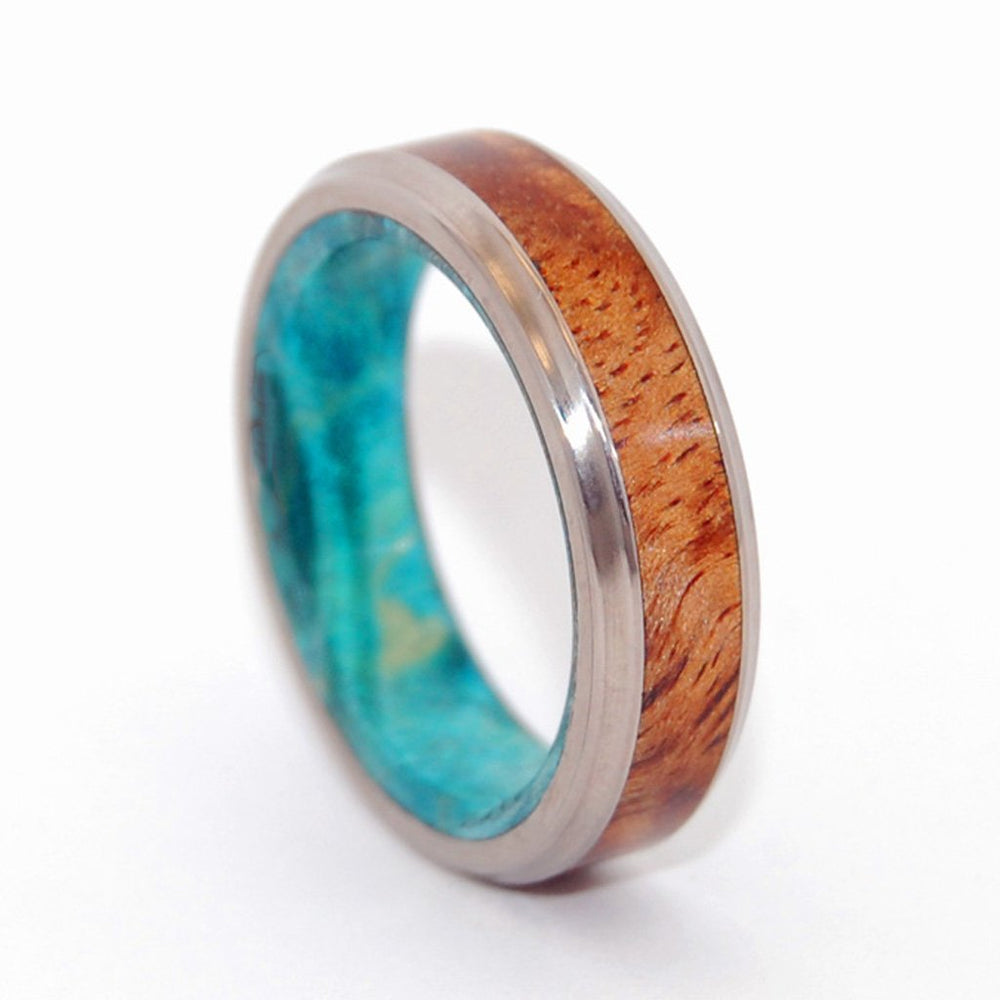 Men's Rings Koa Wood Blue Box Elder