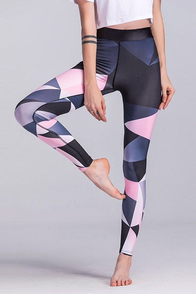 Female Pink and Gray Elastic Leggings
