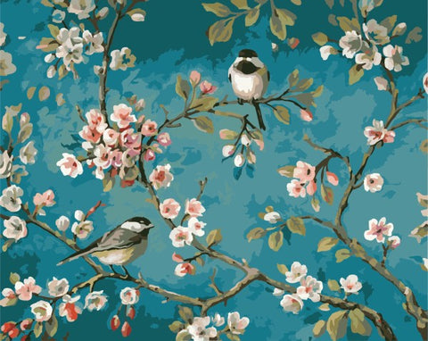 Birds Among The Flowers - DIY Paint By Numbers