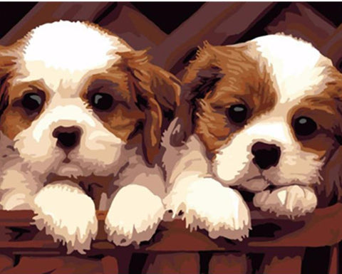 Adorable Puppies - DIY Paint By Numbers