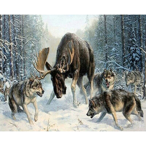 Wolves Surrounding Moose - DIY Paint By Numbers
