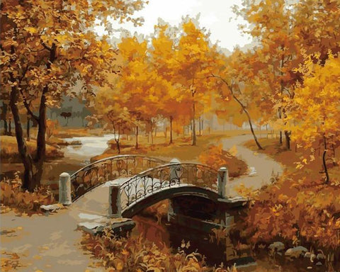 Orange Colored Trees With Bridge - DIY Paint By Numbers