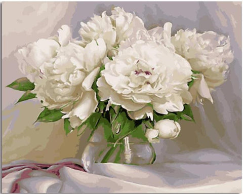 White Flowers - DIY Paint By Numbers