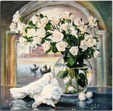 White Roses With Dove Birds - Paint By Numbers