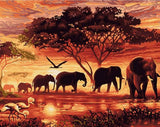 Elephants Walking During Sunset - DIY Paint By Numbers
