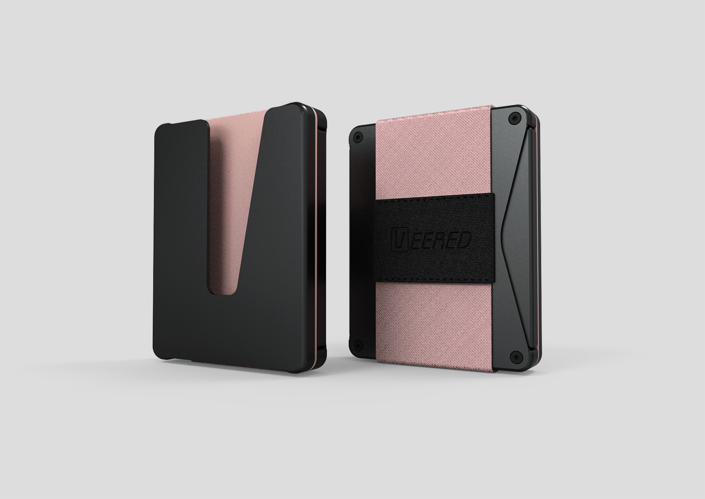 Veered Wallet Wallet Sleek Life Design LLC Black+ Rose gold