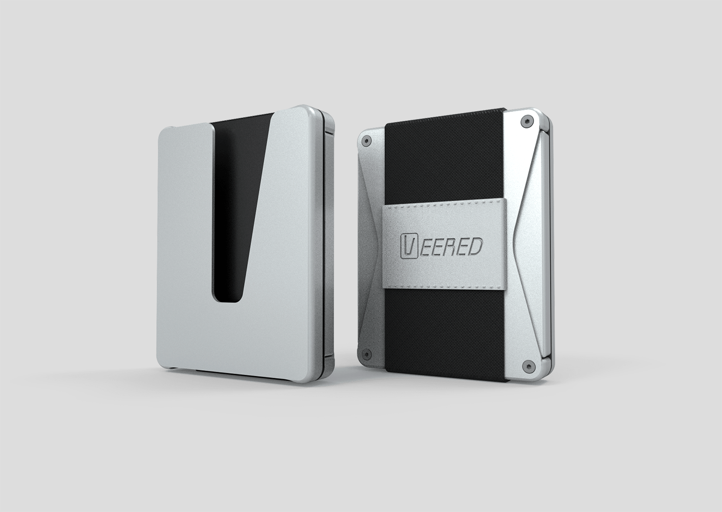 Veered Wallet Wallet Sleek Life Design LLC Grey + Black