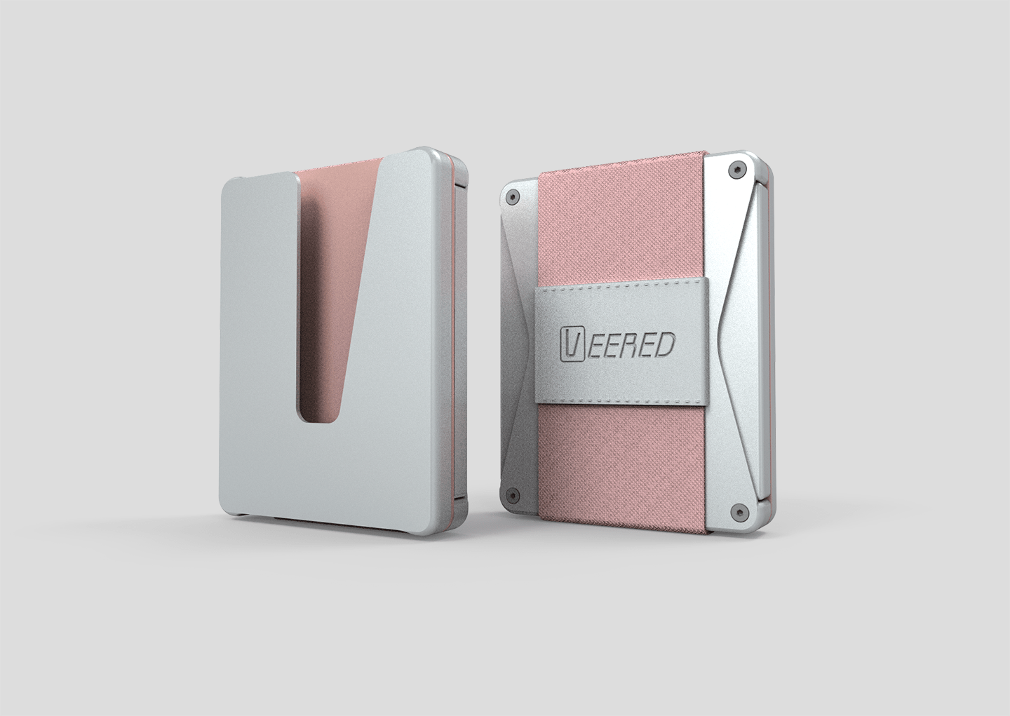 Veered Wallet Wallet Sleek Life Design LLC Grey + Rose Gold