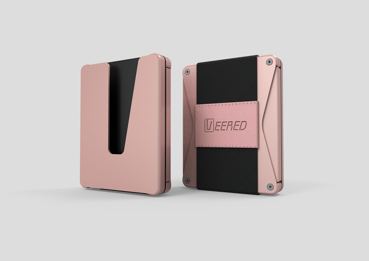 Veered Wallet Wallet Sleek Life Design LLC Rose Gold + Black