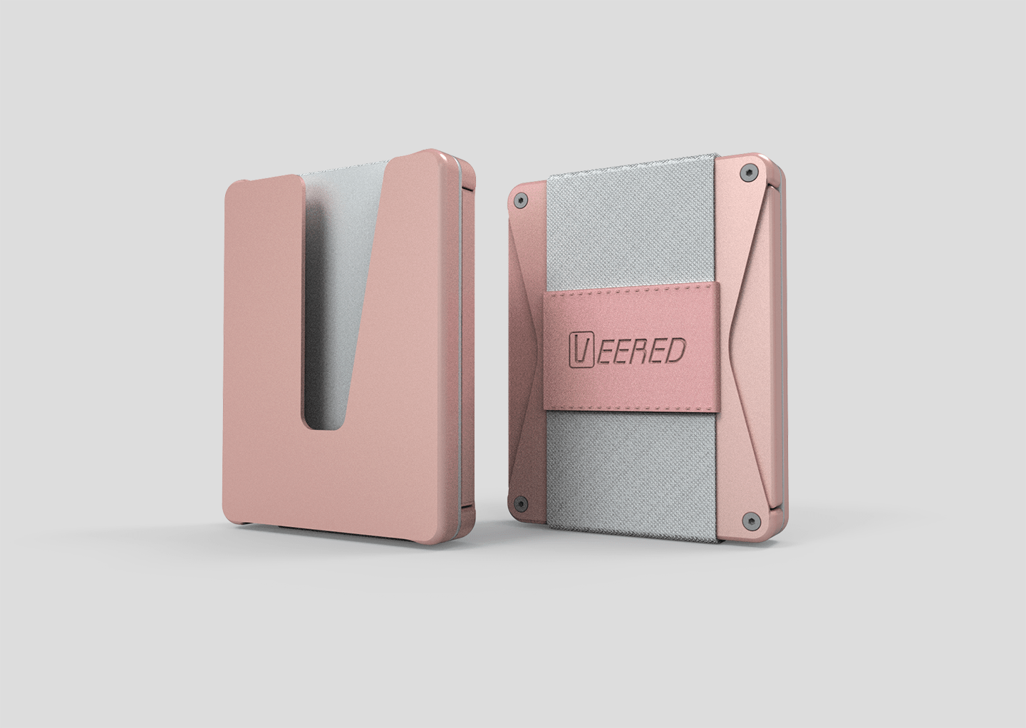 Veered Wallet Wallet Sleek Life Design LLC Rose Gold + Grey