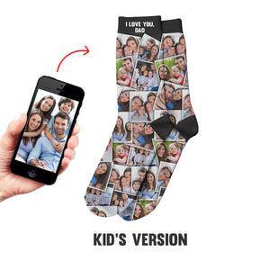 I Love You Daddy ... Family Custom Photo Album Kid Socks With Many Photos