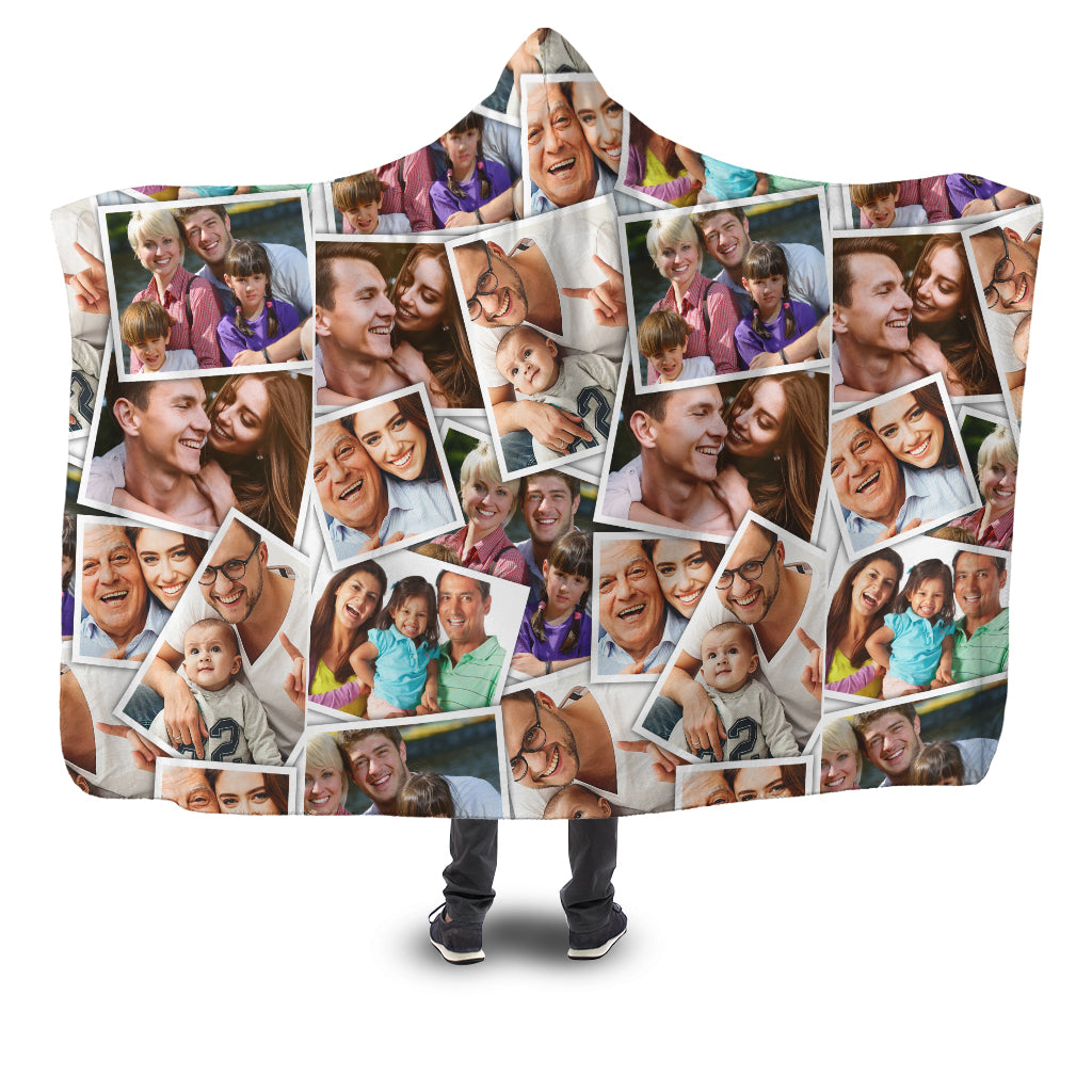 Custom Photo Album Hooded Blanket With Many Photos