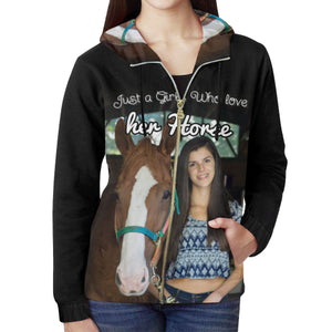 A Girl Who loves her Horse - Hoodie Zip Personalized with your photo