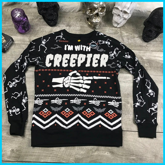 Men Ugly Sweatshirt , I'm with Creepier, All-Over Printed