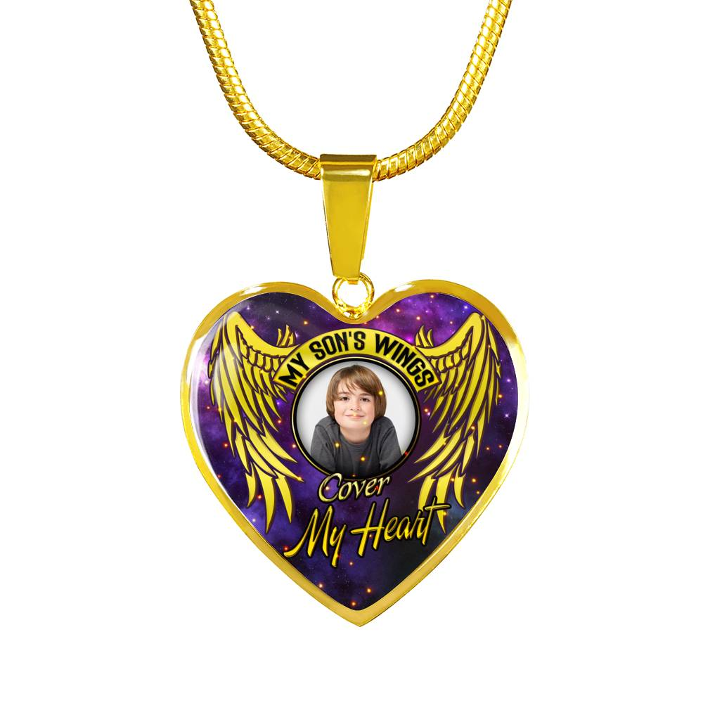 "Luxury Gold Necklace ""My Son's Wings..."" Personalized Necklace"