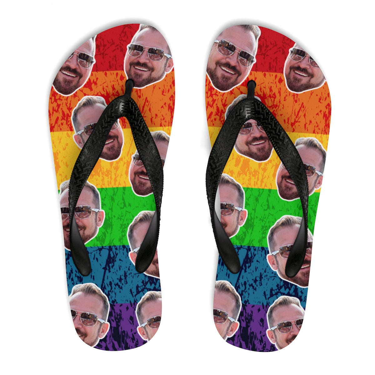 Gay Pride Men Unisex Flip-Flops - LGBT Unisex Flip-Flops, Personalize Unisex Flip-Flops with your face