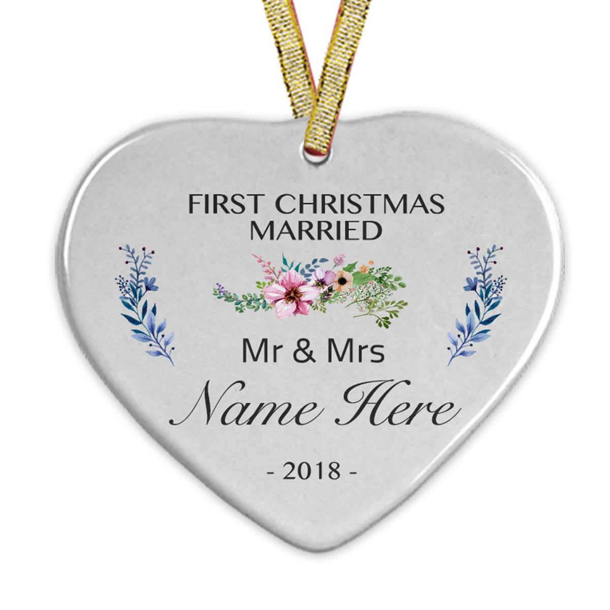 Heart Ceramic Ornaments Personalized Your Family's Name