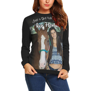 A Girl Who loves her Horse - Sweater Personalized with your photo