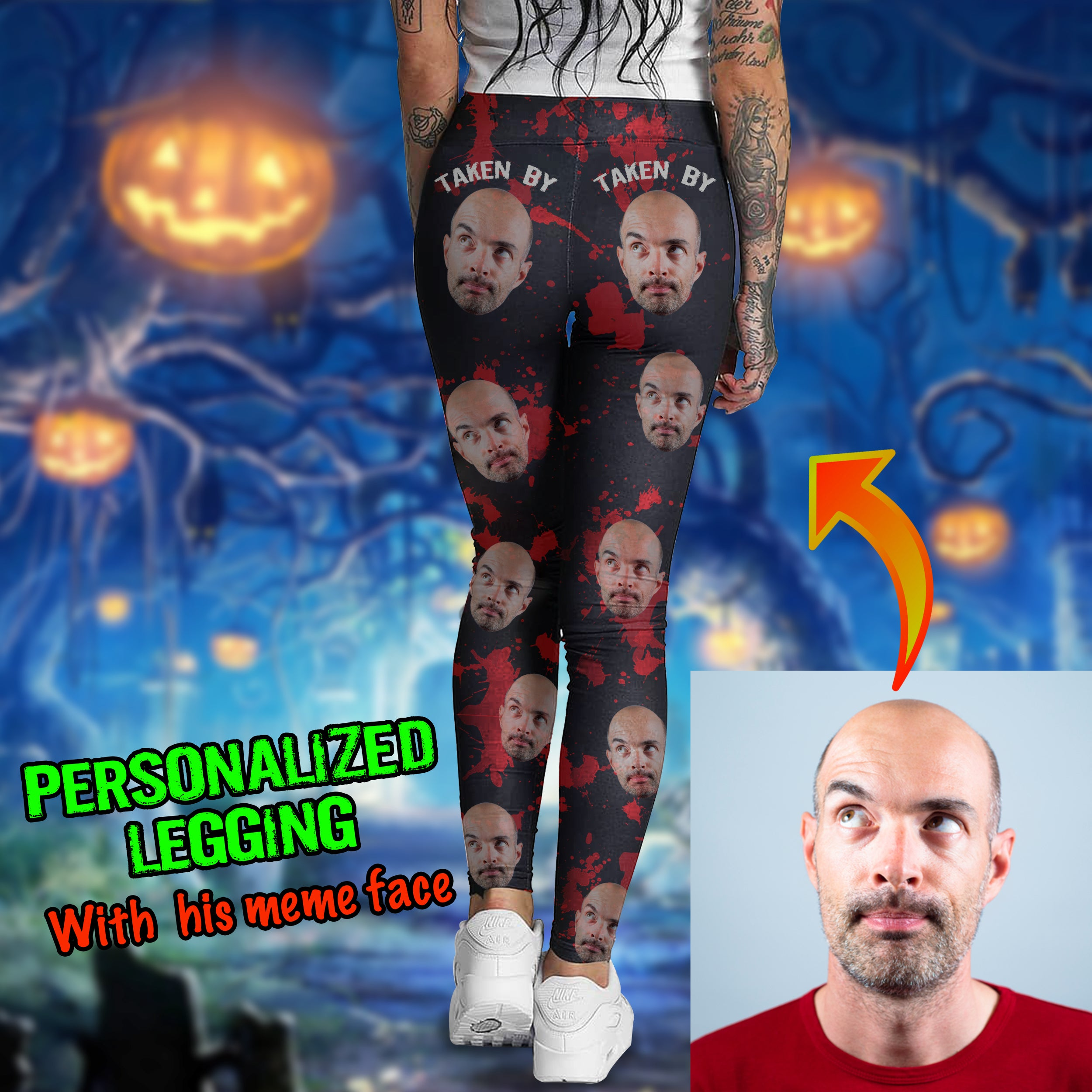 Funny Personalize Legging With Your Face For Halloween Season