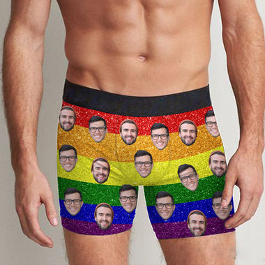 Personalized Your Face Rainbow Boxer Men All Over Print Boxer