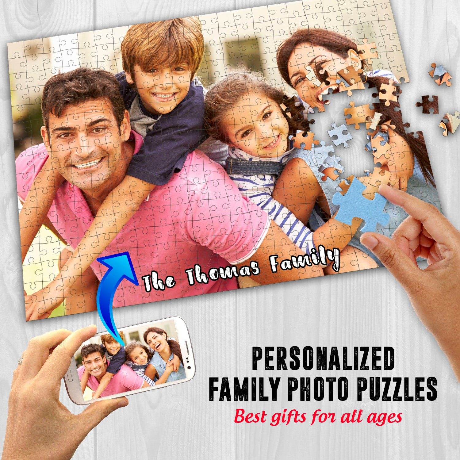 Personalized Family Photo Puzzles 10x14 Inches