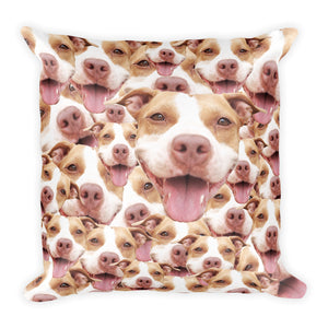 Funny Personalized Square Pillow Case w/ stuffing - With your Pitbull's Face