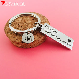 Custom Keyring A-Z 26 Initial Letters Engraved Drive Safe I need you here with me Couples Women Valentine Gifts Keychain Jewelry, Ober