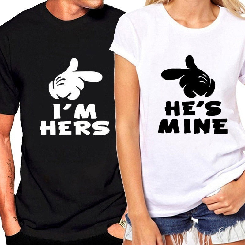 89c5e3b6dd Funny Couple Matching Shirts Black White for Valentine Day Letter Print Men  Cotton T-shirts
