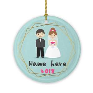 Round Ceramic Ornaments Personalized Your Family's Name