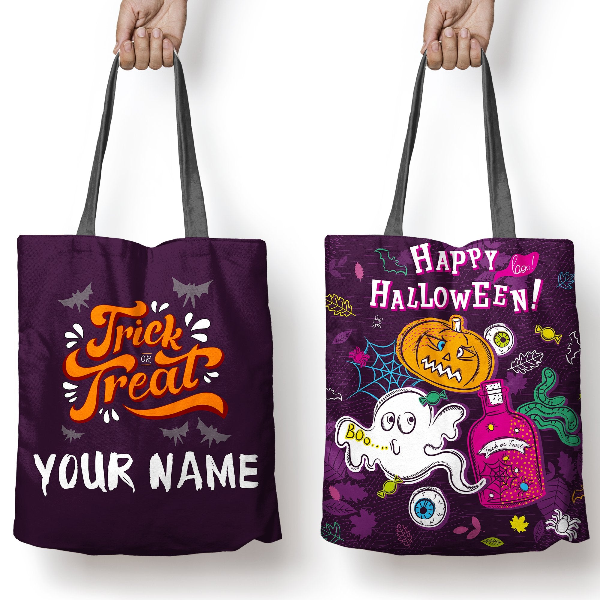 Halloween Trick Or Treat Bags Personalized.Halloween Tote