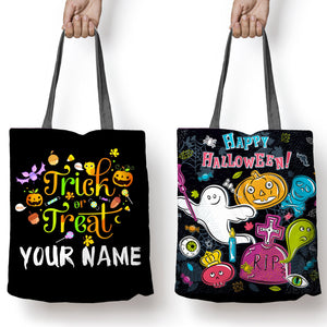 "Halloween Tote, ""Trick or Treat"" bag, Personalized Halloween bags"