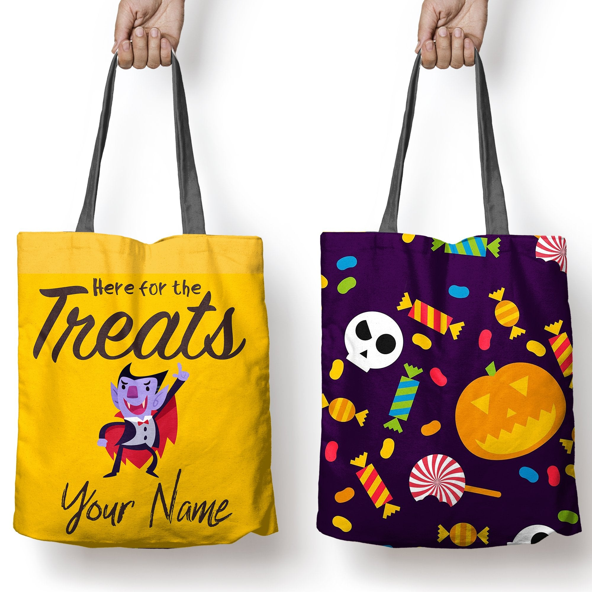 "Halloween Tote, ""Here For The Treats"", Personalized Halloween bags"