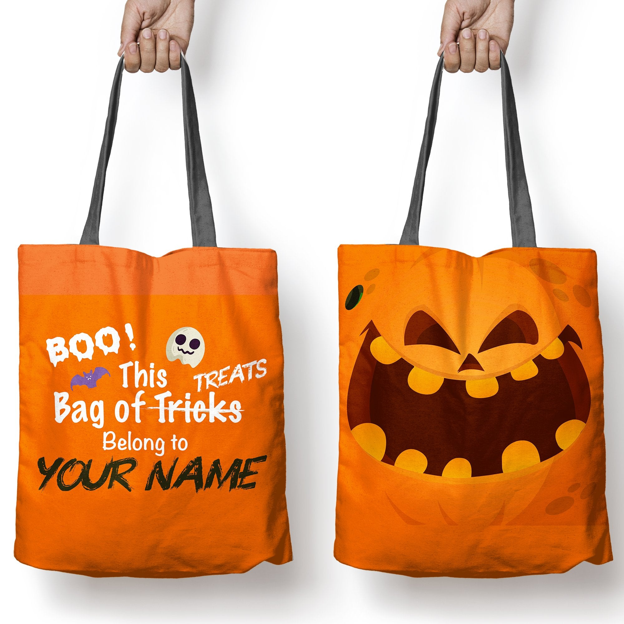 "Halloween Tote, ""Belong To.."" Trick or Treat bag, Personalized Halloween bags"