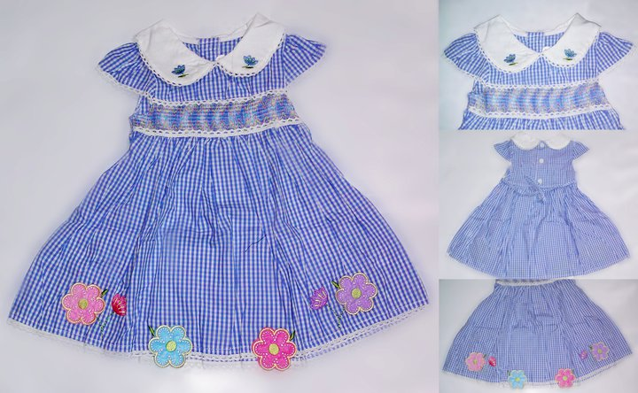 Girl Baby Checkered Dress with emboidered flowers
