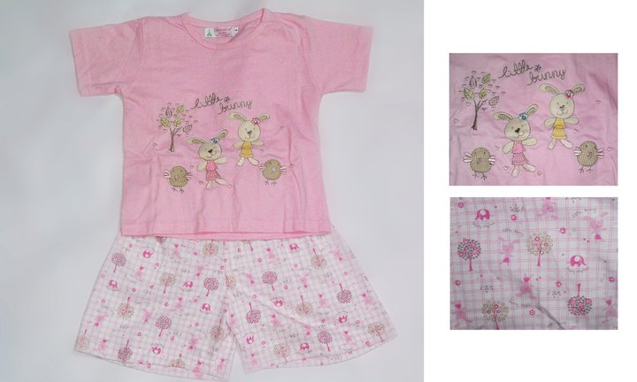 Girl PJ set with emboidered cartoon rabbit ( colour : Pink)