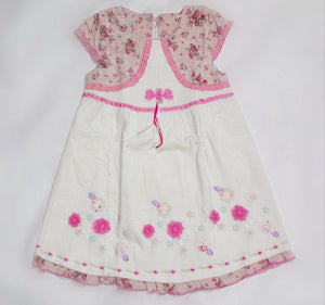 Girl Pink flower printed capped sleeve with off white skirt Dress