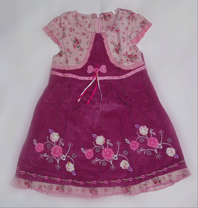 Girl Pink flower printed capped sleeve with Magenta skirt Dress