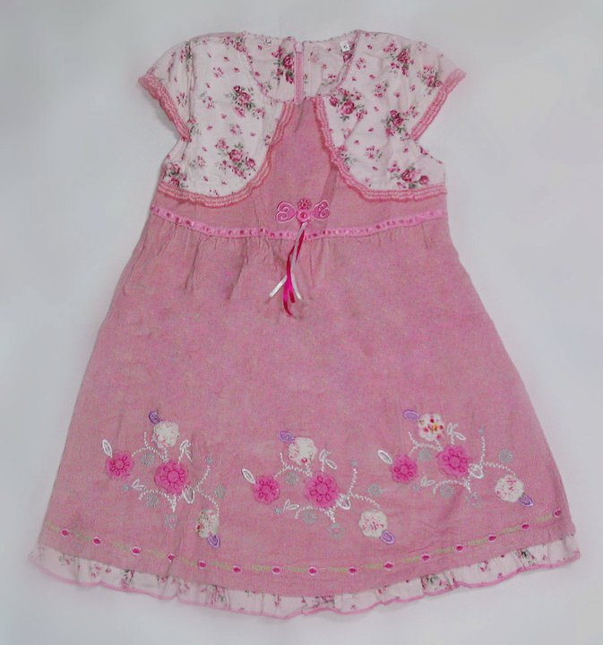 Girl Pink flower printed capped sleeve with pink skirt Dress