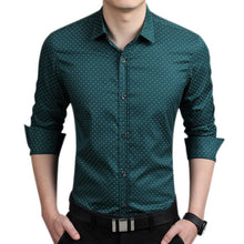 Fashion Men Slim Fit Long Sleeve Shirt Polka Dot Casual Business Shirt Tops Plus Size 5XL FS99