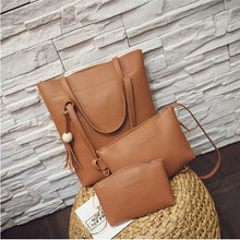 3 Pcs Ladies PU Leather Handbag Shoulder Bag Tote Purse Messenger Bag
