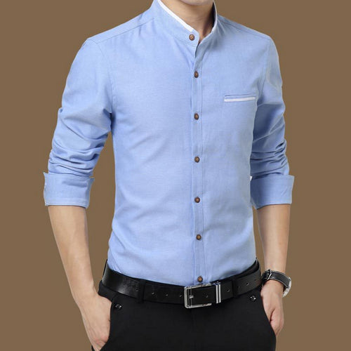 2018 Mandrin Collar Slim Fit Business Shirt