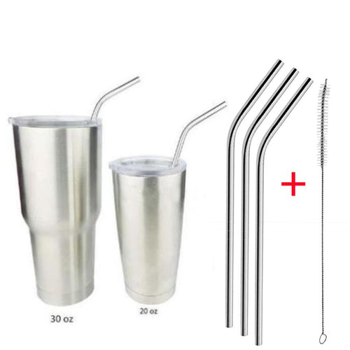 4 Pcs Stainless Steel Metal Drinking Straw Reusable Straws + 1 Cleaner Brush Kit 724 Levert