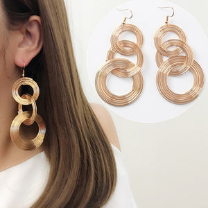 Vintage Exaggerate Big Circle Dangle Earrings