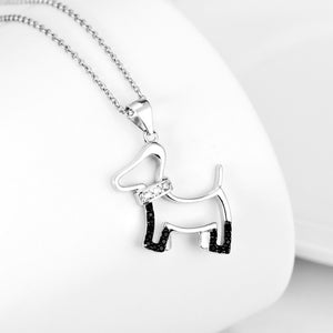 925 Sterling Silver Cute Puppy Dog Pendants Necklaces Fashion White & Black Crystal Classic Jewelry For Women GNX9892