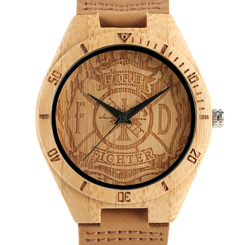 Men's Creative Wooden Watch Fire Fighter Theme Wrist Watch Nature Bamboo Wood Quartz Watches Relogio Clock
