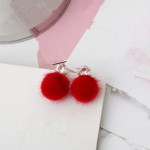 Wild Simple Hair Ball Female Earrings