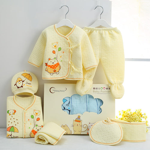 7 PCS/set 0-6M Newborn Baby Clothing Set 100% Cotton Gift Box